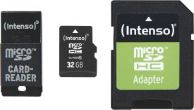 Intenso Micro SD Card 32GB Class 10 inkl. SD + USB Adapter Set