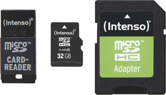 Intenso Micro SD Card 32GB Class 10 inkl. SD + USB Adapter Set_0